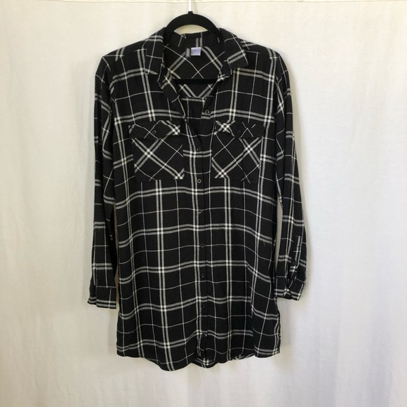Divided Tops - H&M Longline Plaid Button Down